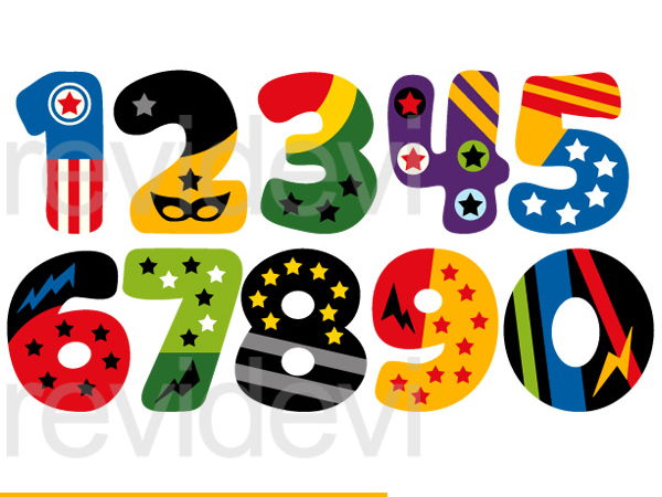 Superhero Numbers Clip Art Graphics.