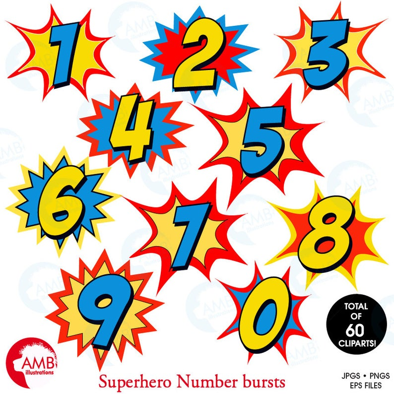 Superhero Numbers clipart, Numbers clipart, Numbers clipart with bursts,  commercial use, AMB.