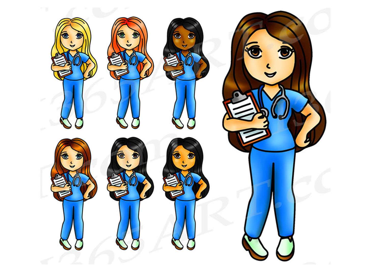 Kawaii Nurse Clipart, Nurse Girls, Digital Graphics, PNG JPEG Commercial.