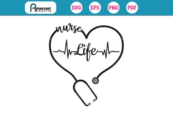 nurse svg, nurse svg file, nurse life svg, nurse clip art, heartbeat.