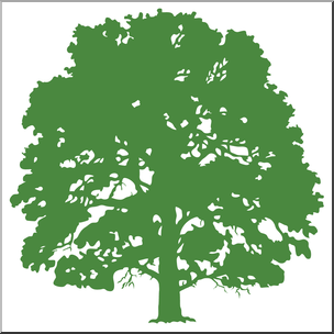 Clip Art: Oak Tree Silhouette Color.
