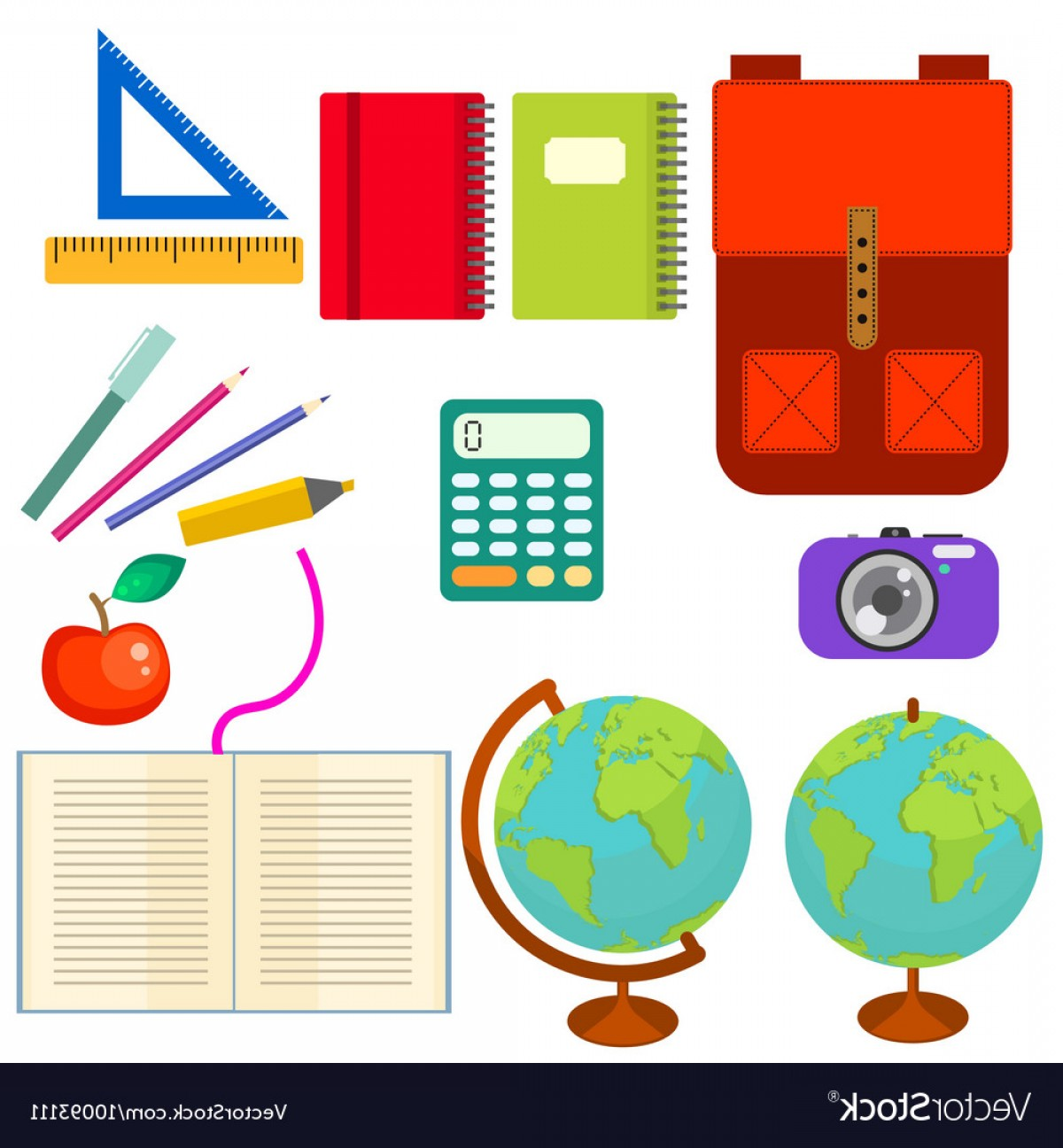 School Supplies Clip Art Objects Vector.