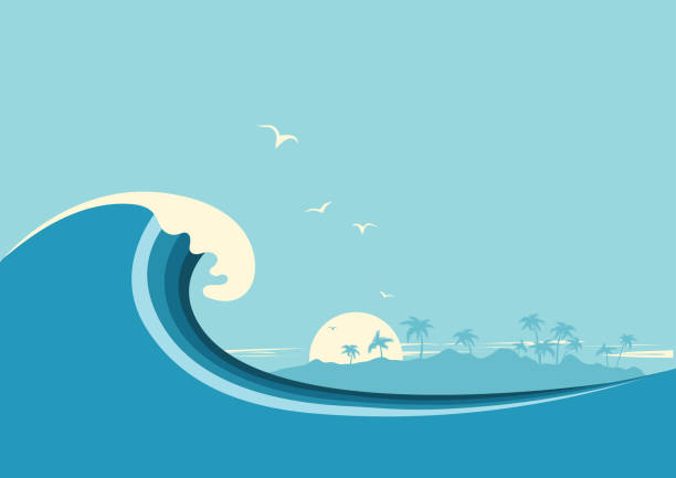 Best Ocean Wave Illustrations, Royalty.