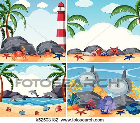 Four ocean scenes with animals and beach Clipart.