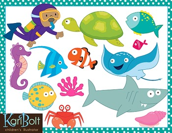 Ocean Animals and Scenes Clip Art.
