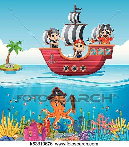 Children on pirate ship and ocean scene Clip Art.