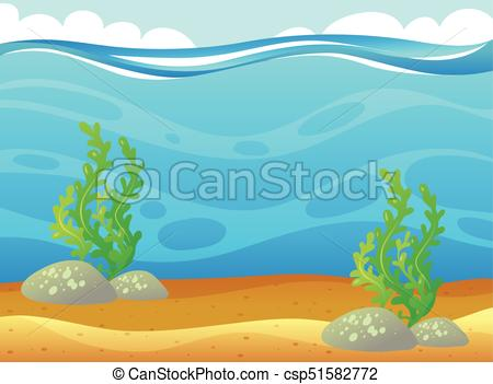 Ocean scene with seaweed underwater.
