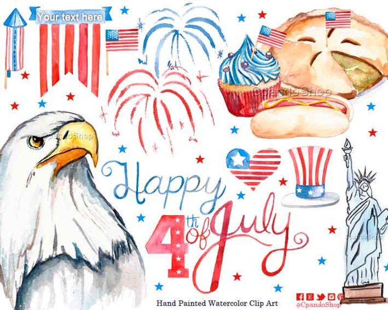 4th of July Clipart, July 4th Clipart, Fourth of July Digital Paper, USA  Clipart, Independence Day Clipart, 4th July Party, watercolor clip.