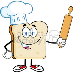 royalty free rf clipart illustration baker bread slice cartoon mascot  character with chef hat holding a rolling pin vector illustration isolated  on.