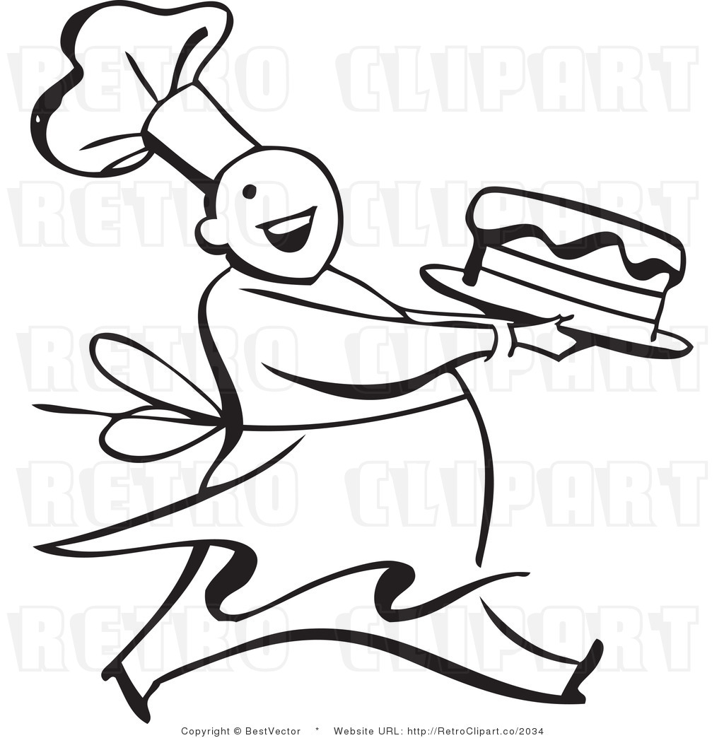 Clip Art of a Cake Baker.