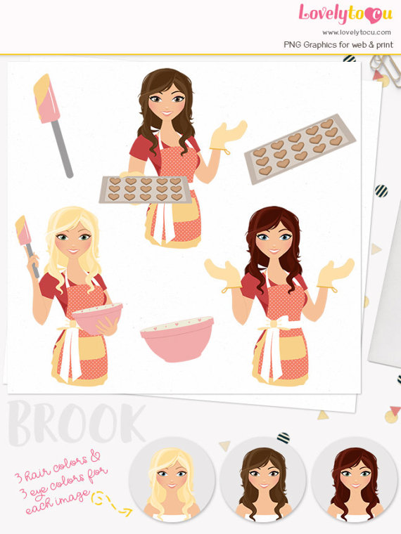 Baking woman character clip art, bake heart cookies, baker girl.