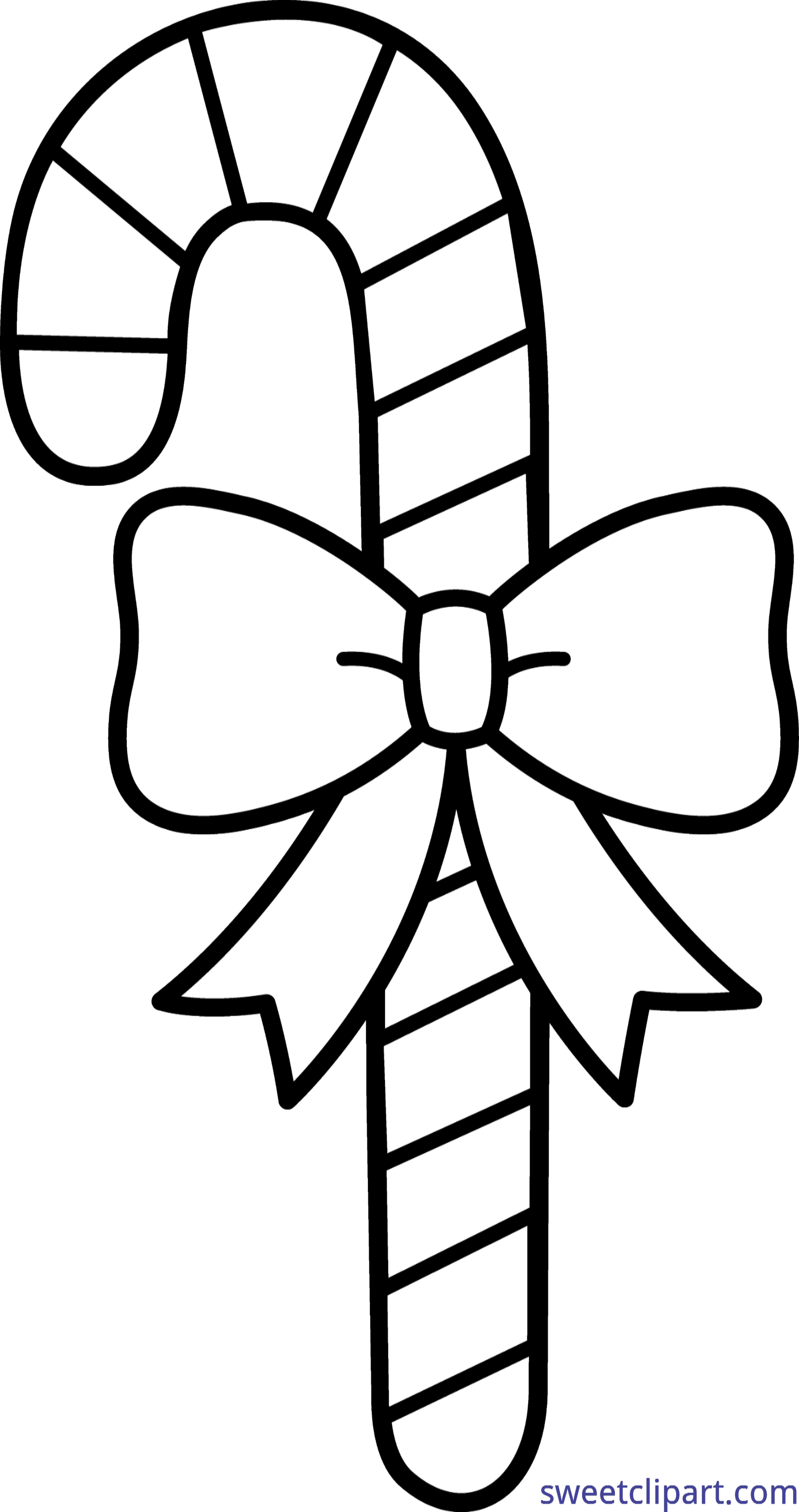Candy Cane Coloring Page Clip Art.