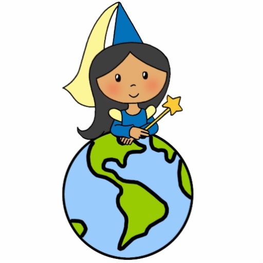 Cartoon Clip Art Cute Princess On Top Of The World Return Address.