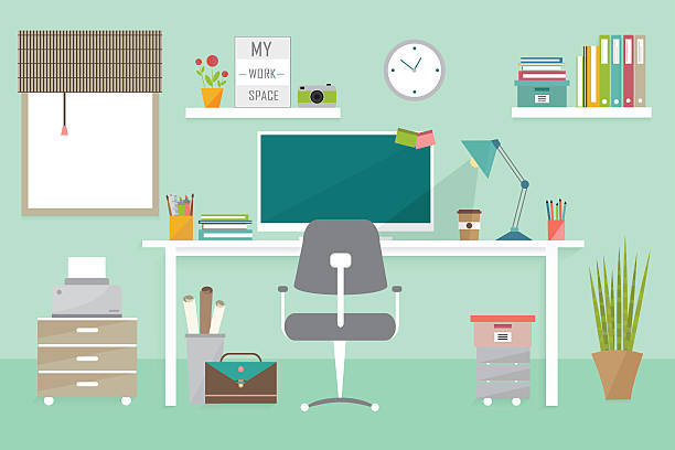 Best Home Office Illustrations, Royalty.