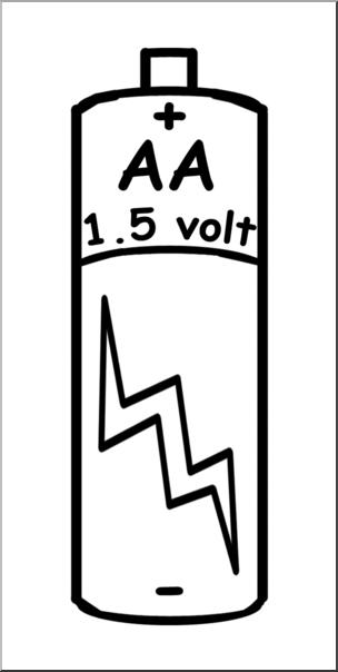 Clip Art: Electricity: AA Battery B&W I abcteach.com.