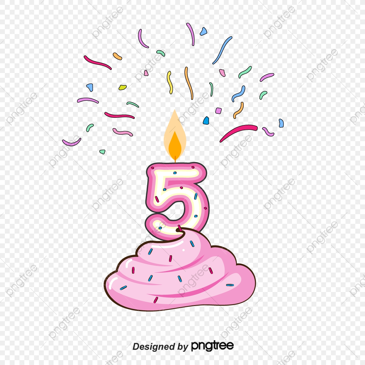 Number 5 Birthday Candles, Birthday Clipart, Vector Png, Color.
