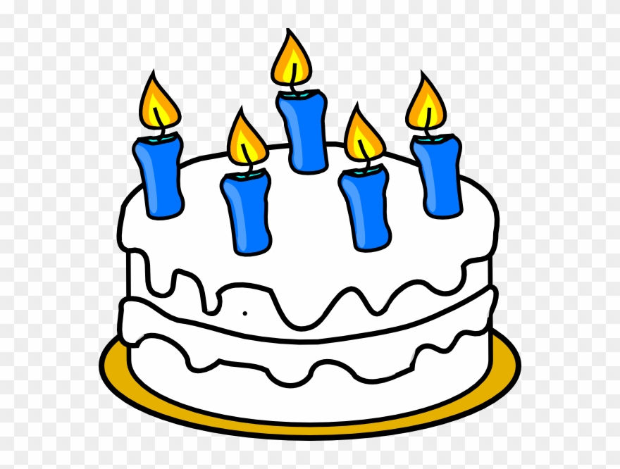 Birthday Cake With Blue Lit Candles Clip Art.