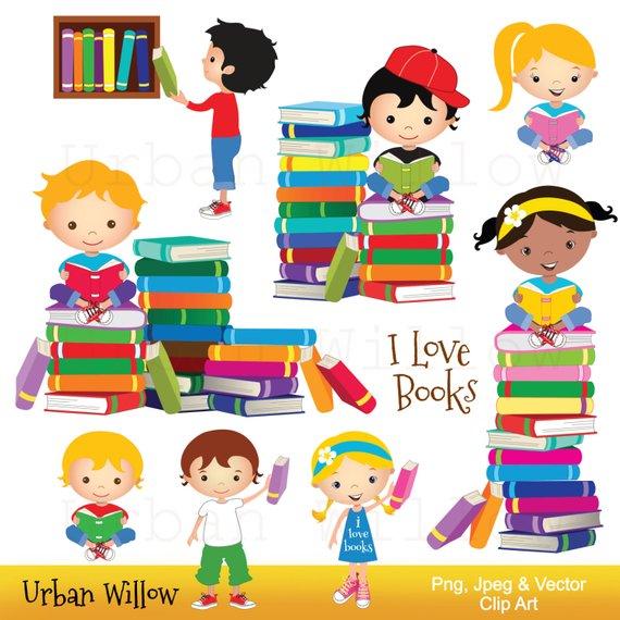 Clip art school kids, Clip art Books, Reading Clipart, Cute Library.