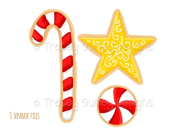 Christmas cookie clipart, candy cane clip art, star clip art, Christmas  Clip Art, Christmas Clipart, holiday clipart, digital clip.