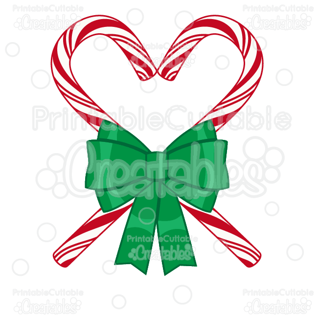 Candy Cane Heart SVG Cutting File & Clipart.