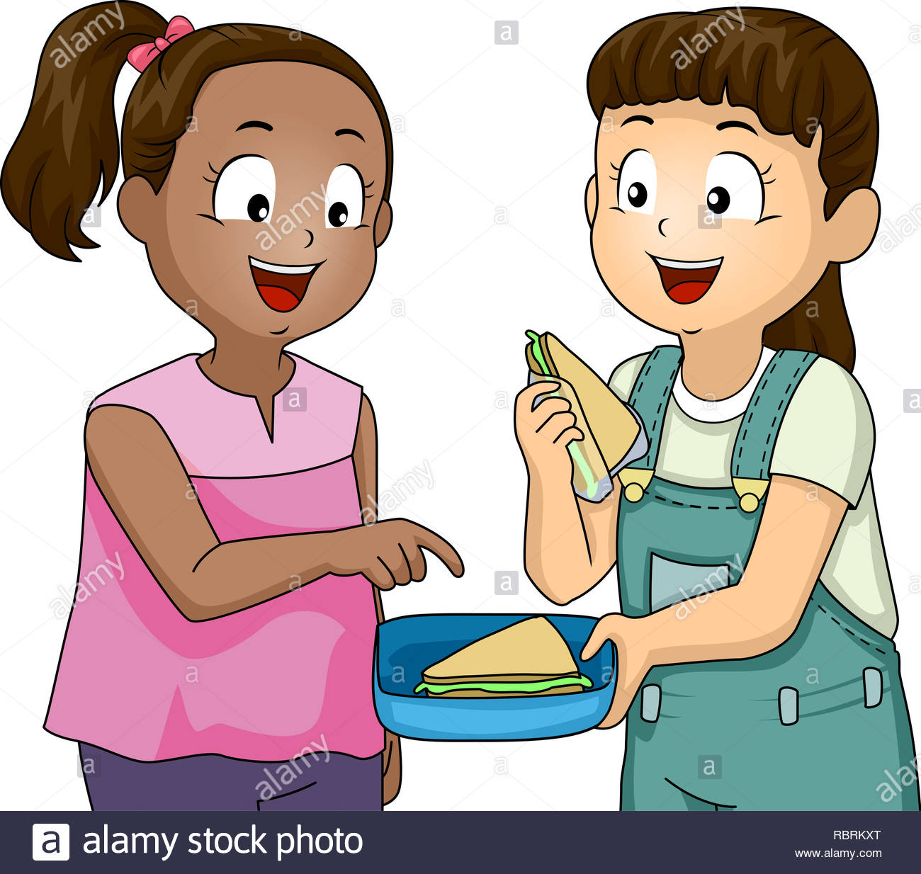 Illustration of a Kid Girl Sharing Sandwich with a Friend. Positive.