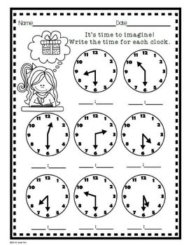 TELLING TIME~Practice Worksheets & Digital Hour/Half.