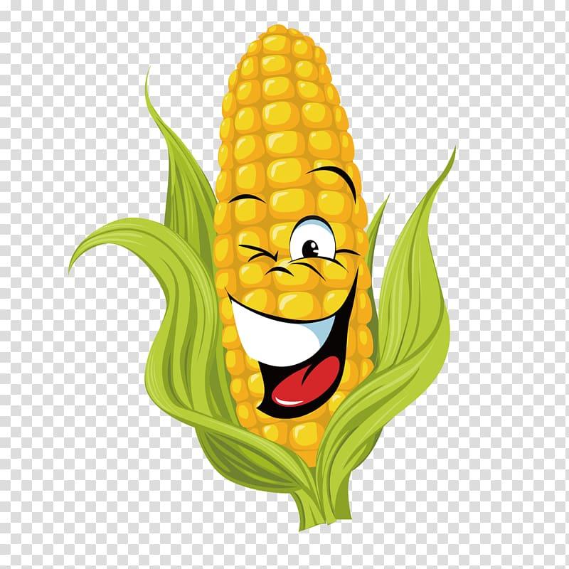 Corn cob with face , Corn on the cob Maize Sweet corn , Cartoon corn.