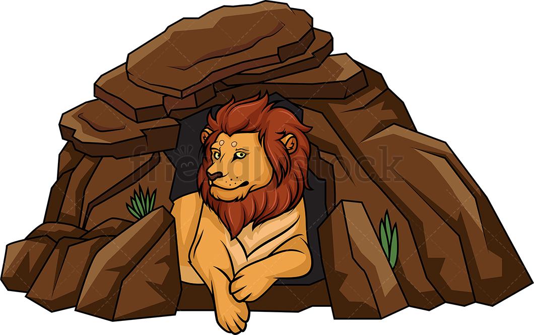 Lion Lying In Its Den.