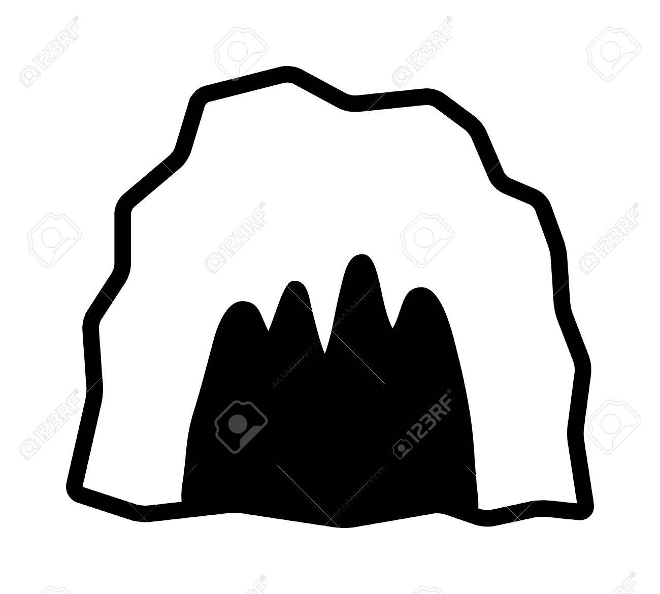Cave / cavern, animal den or dungeon line art vector icon for...