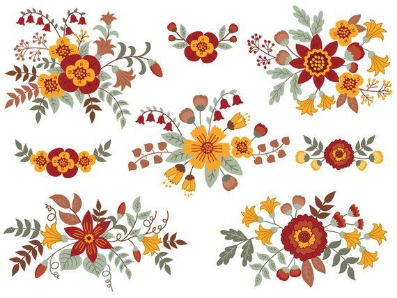Vector Flower ITEM: Floral Bouquet Clipart.