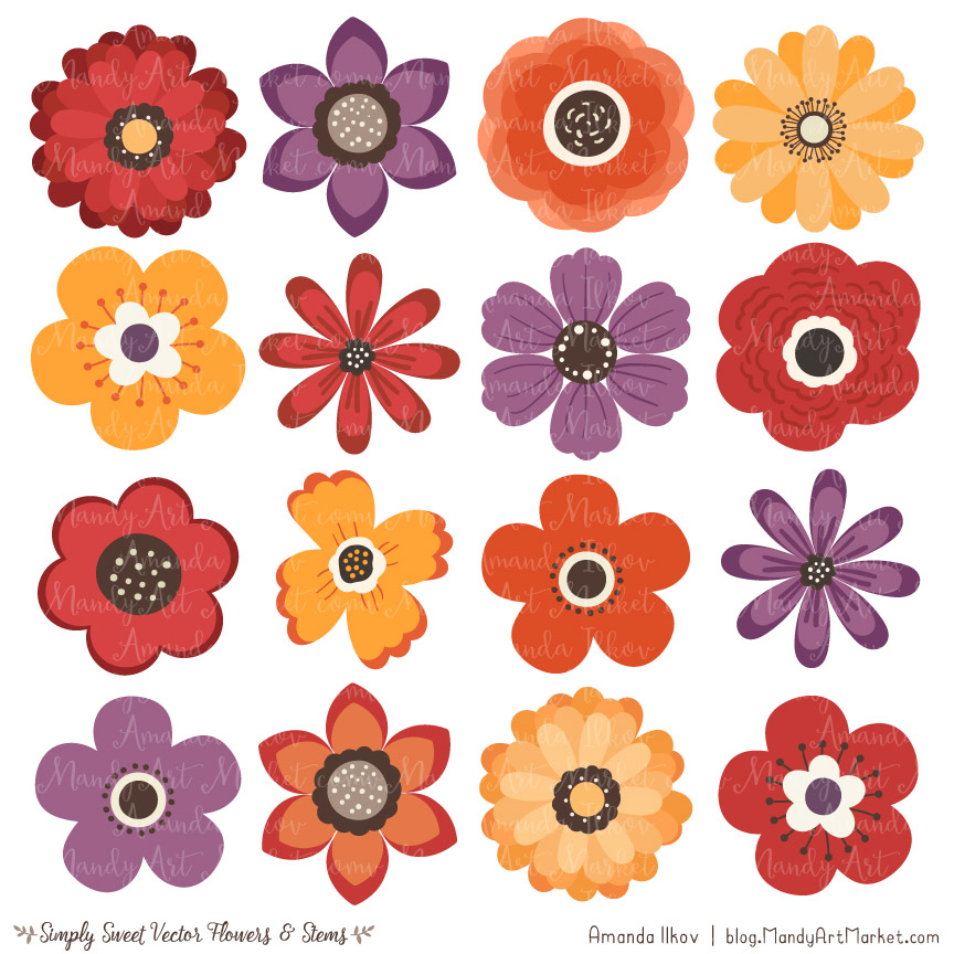 Autumn Flower Clipart & Vectors.
