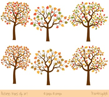 Autumn trees clip art, Fall trees clipart, Maple tree, Oak tree.
