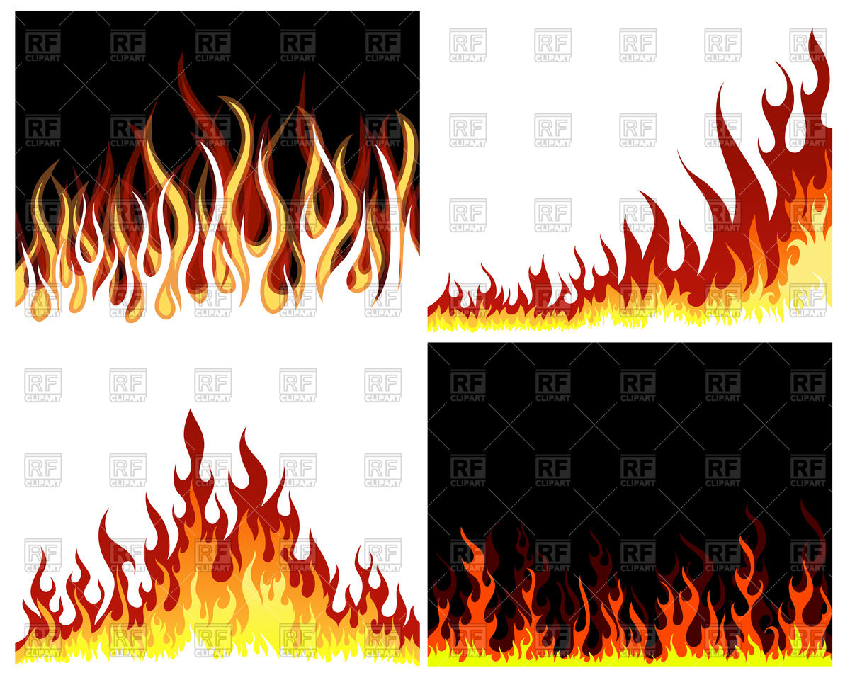 Fire flame border set Stock Vector Image.
