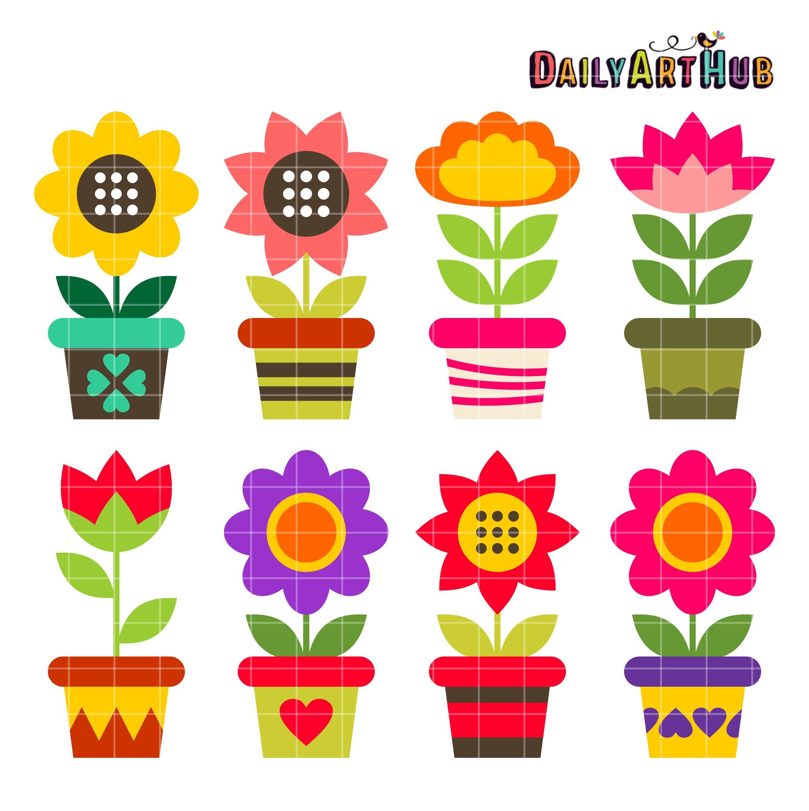 Colorful Flower Pots Clip Art Set.