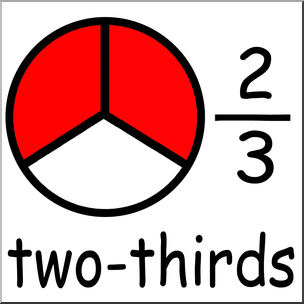 Clip Art: Labeled Fractions: 03 2/3 Two Thirds Color I abcteach.com.