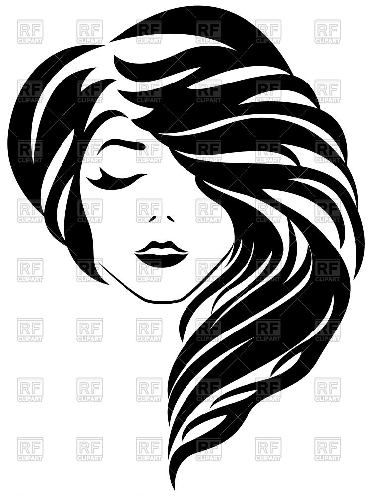 Woman beautiful head with curly hair Stock Vector Image.