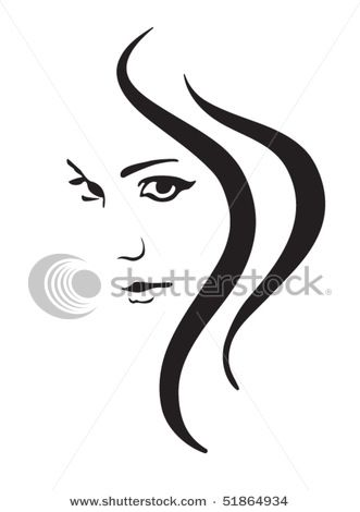 Picture of a Beautiful Woman's Pretty Face with Strands of Hair.