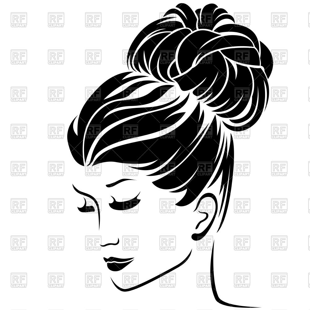 Beautiful fashion woman with high bun hairstyle Stock Vector Image.