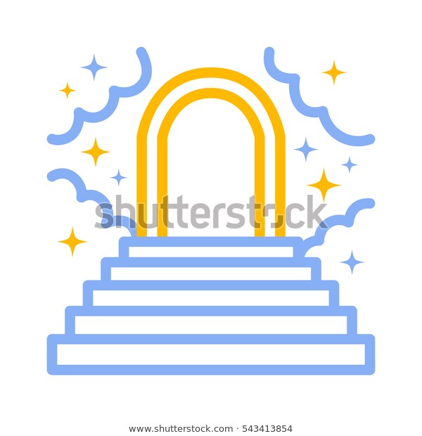 Heaven Paradise Stairs Clouds Stars Heavenly Stock Vector (Royalty.