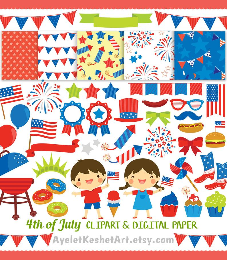 4th of July Digital Clipart set. Graphics and digital paper for USA  Independance Day. PNG and vector files, for Personal & commercial use..