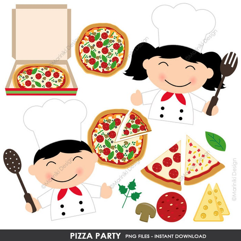 Pizza Party Clip Art, Chef Clipart, Kitchen Cooking Kids Character Clip Art  for Crafts Scrapbook Invitations INSTANT DOWNLOAD CLIPARTS C85.