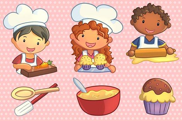 Cute Kids Cooking Clip Art Set.