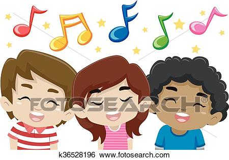 Kids Singing with Music Notes Clip Art.