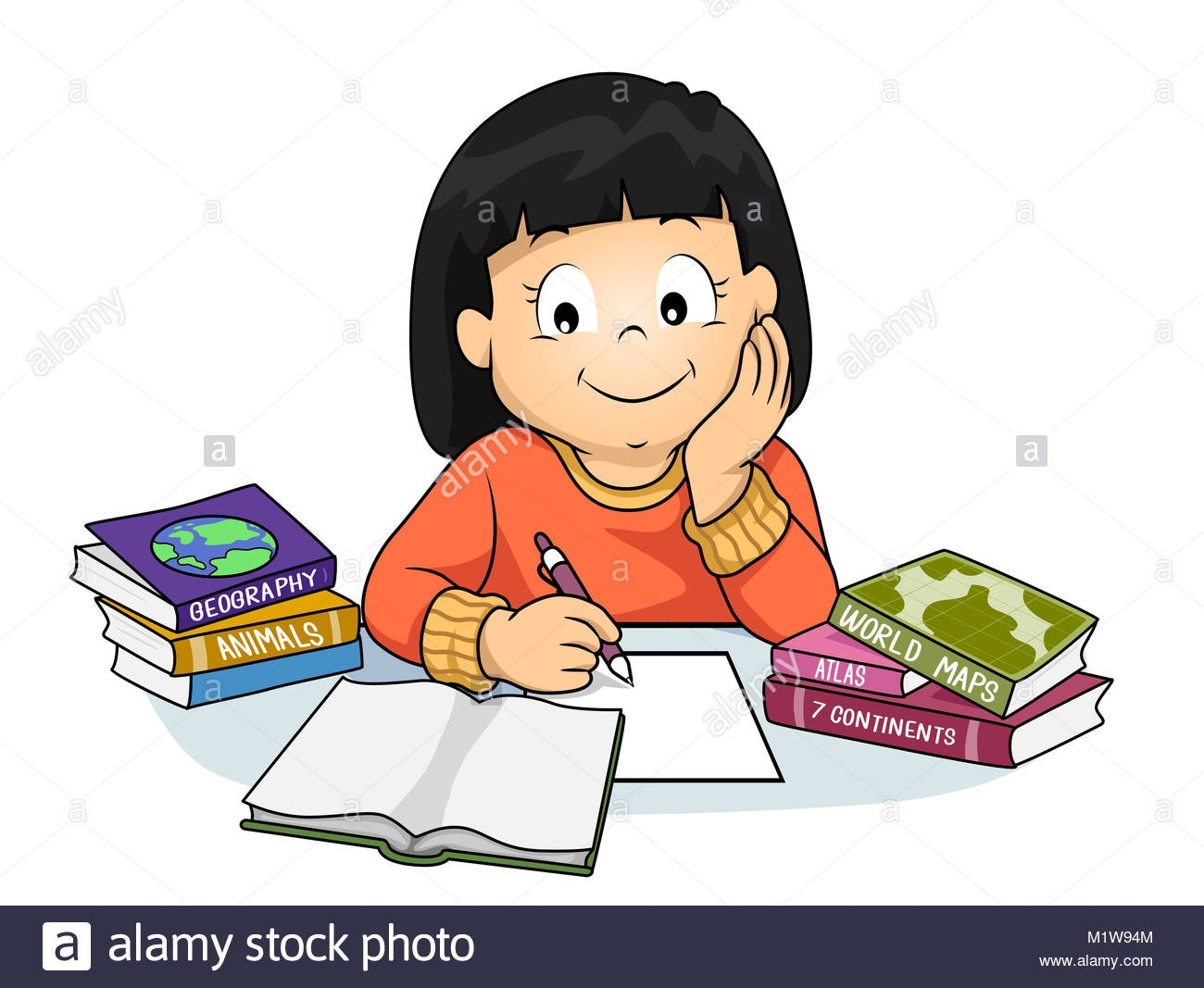 Clipart Girl Doing Homework.