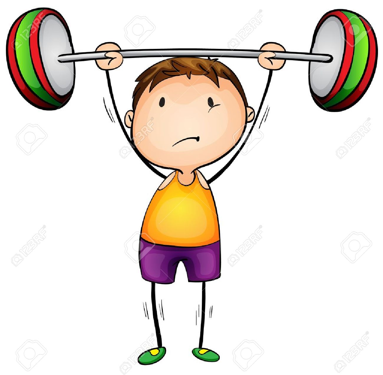 Illustration of a boy lifting weights.