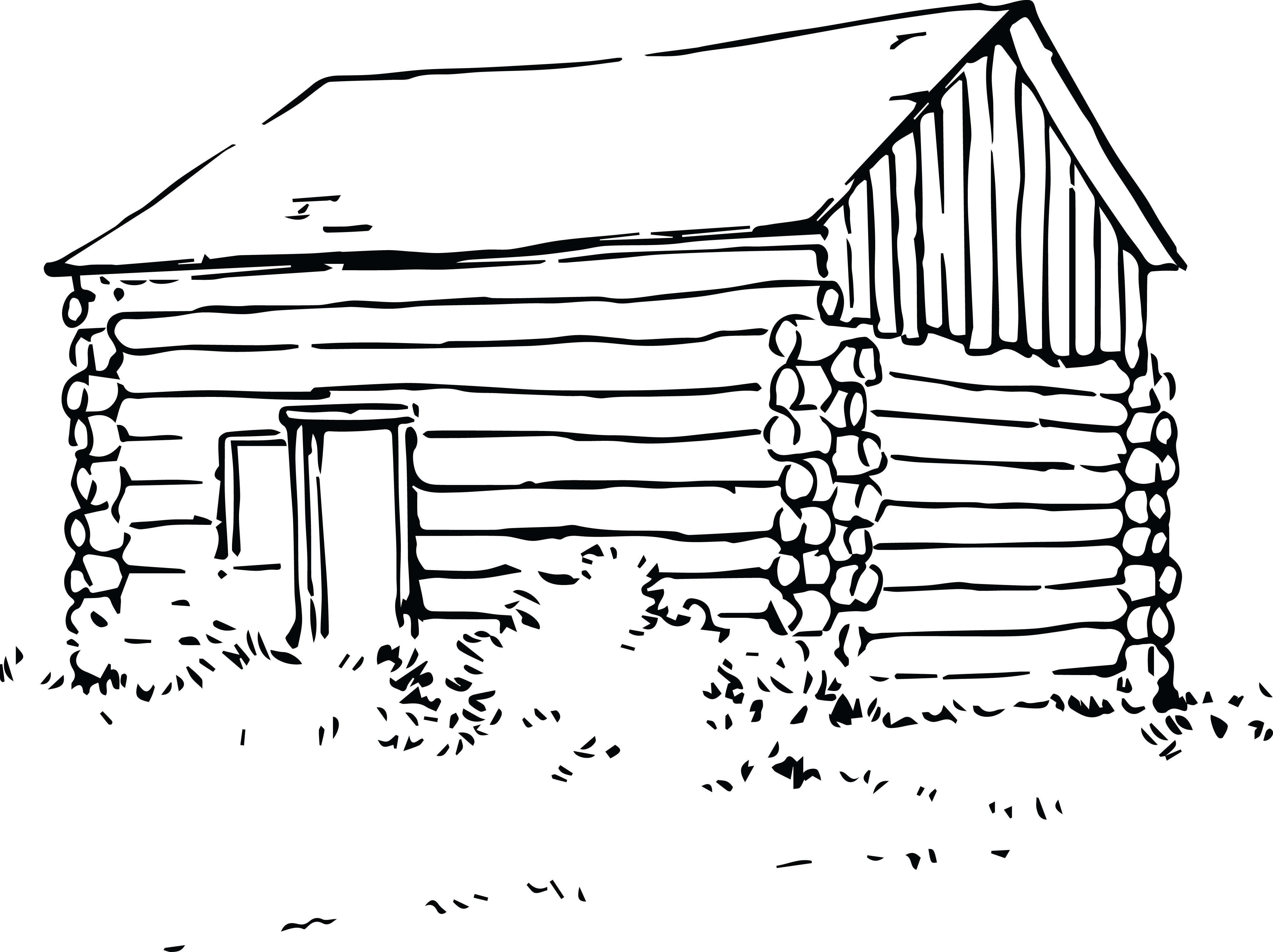 Free Clipart Of A log cabin.