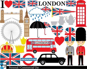 London UK Set Digital Clip Art Graphics Personal Commercial Use 45 images  cod151.
