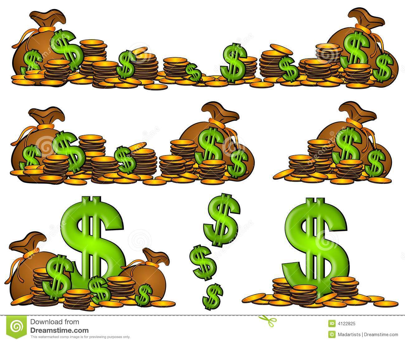 Bags Of Money And Coins Dollar Signs Stock Illustration.