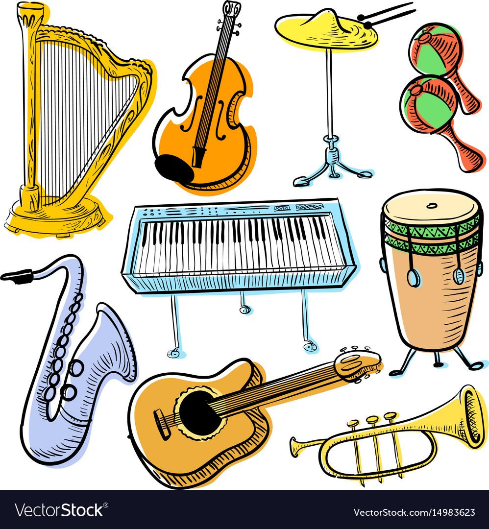 Musical instruments doodle set cute line art.