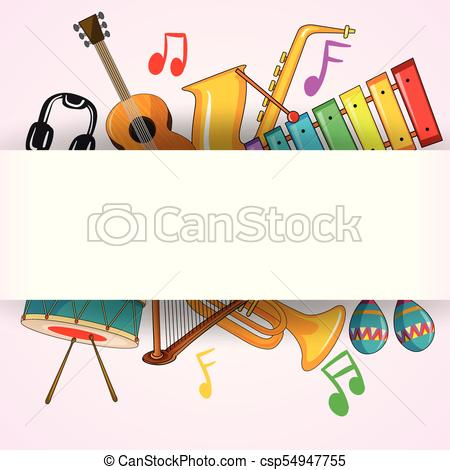 Border template with musical instrument.